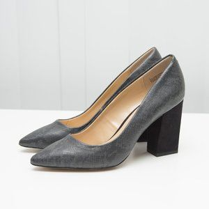 EXPRESSION Black Snake Shoes with Velvet heel 7